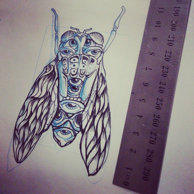 Check out this rough little specimen checking you out. #tattoo #ink #insect #drawing