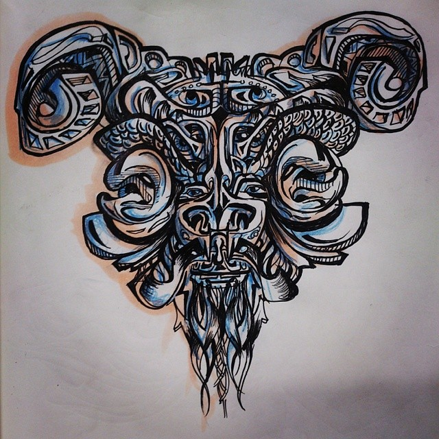 This billy goat is gruff. #illustration #ink #tattoo