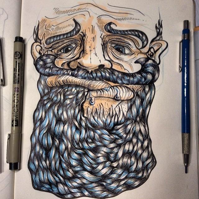 Me watching #gameofthrones last night. I'm not a nail biter, I present the alternative… Beard sucking #beard #illustration #ink