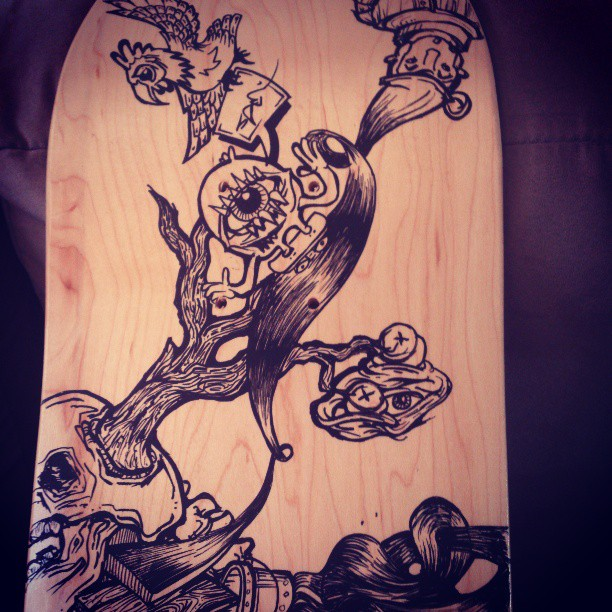 Skatey number 3 details. What do you want to see to fill it up? #skate #skateboard #deck #handmade #handpainted #custom #oneofakind #illustration #draw #drawing #marker #molotow #posca #design #desiger #eyes #beautiful #face #mask #deadly #head #sea #ocean #illustration #streetart #graphic #rad