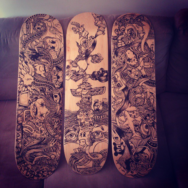Two and a half mental deck designs. 6 to go #skate #progress #skateboard #art #artist #design #sea #designer #illustration #illustrator #drawing #marker #molotow #posca #penandink #blackandwhite #handmade #surf #beach #diy #daydream #dark #twisted #tattoo #happy #beautiful #face #eyes