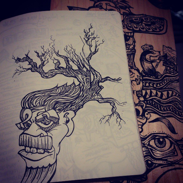 Ideas taking root #art #design #skateboard #blackandwhite #handmade #surf #streetart #tattoo #tattooflash #face #eyes #mask #moustache beautiful #wooden #tree #drawing
