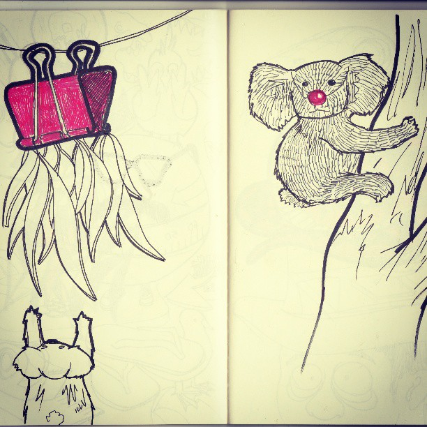 Koala prankster #sketchbook #sketch #draw #drawing #koala #animal #clown #cute #playful #playful #tree #nature #red #book #climbing #penandink #blackandwhite #handmade #australia #wierd ##strange #bizarre #illustration #illustration