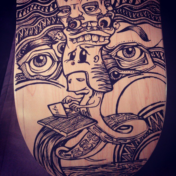Skatey number 3 coming along. #skate #skateboard #deck #handmade #handpainted #custom #oneofakind #illustration #draw #drawing #marker #molotow #posca #design #desiger #eyes #beautiful #face #mask #deadly #head #sea #ocean