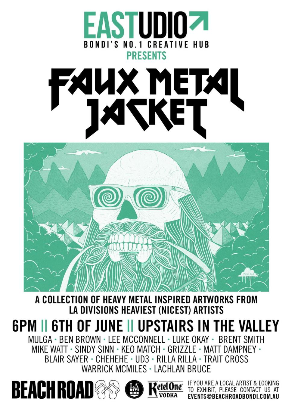 Faux-metal-jacket-puns-art-album-cover-music-heavy-la-division-sam-shennan-ud3-mulga-ben-brown-mike-watt-poster-art-design-sydney-illustrators.png