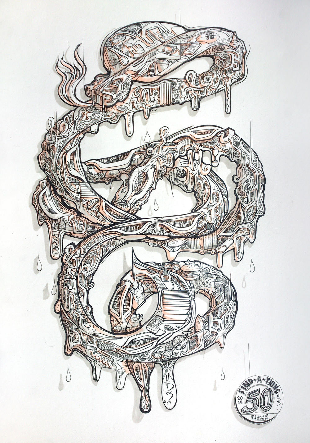 One of the finished pieces, the sea snake.