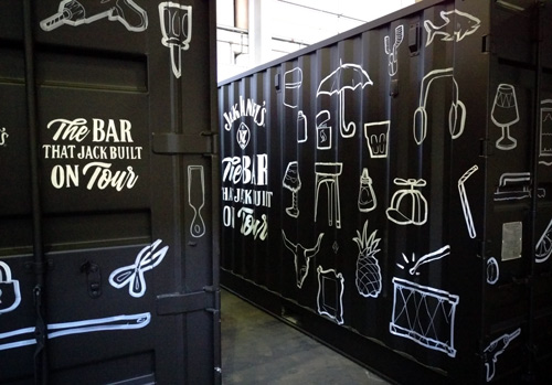 Jack-Daniel's-birthday-shipping-container-hand-painted-letters-line-black-and-white-bar-that-jack-built-sam-shennan-samshennan-whisky-painting-artwork-geanie-sydney-painter-artist-muralist-500px2