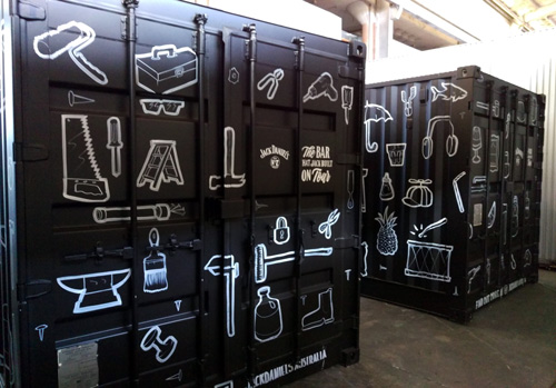 Jack-Daniel's-birthday-shipping-container-hand-painted-letters-line-black-and-white-bar-that-jack-built-sam-shennan-samshennan-whisky-painting-artwork-geanie-sydney-painter-artist-muralist-500px4