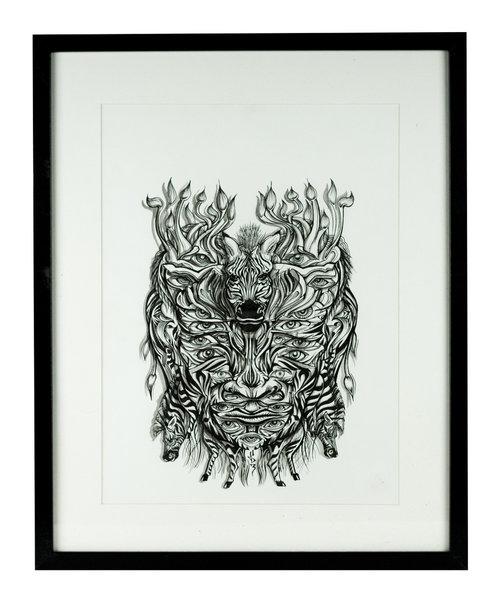 Zebra Mask Original Ink Drawing — Sam Shennan | Sydney Graphic ...