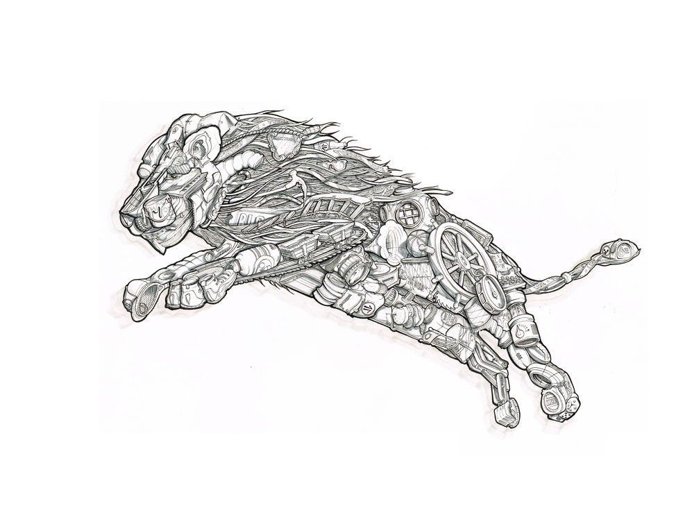 Intricate surreal lion illustraton on paper