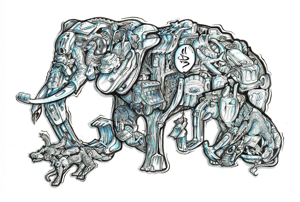 Farmyard elephant commissioned illustration for young family