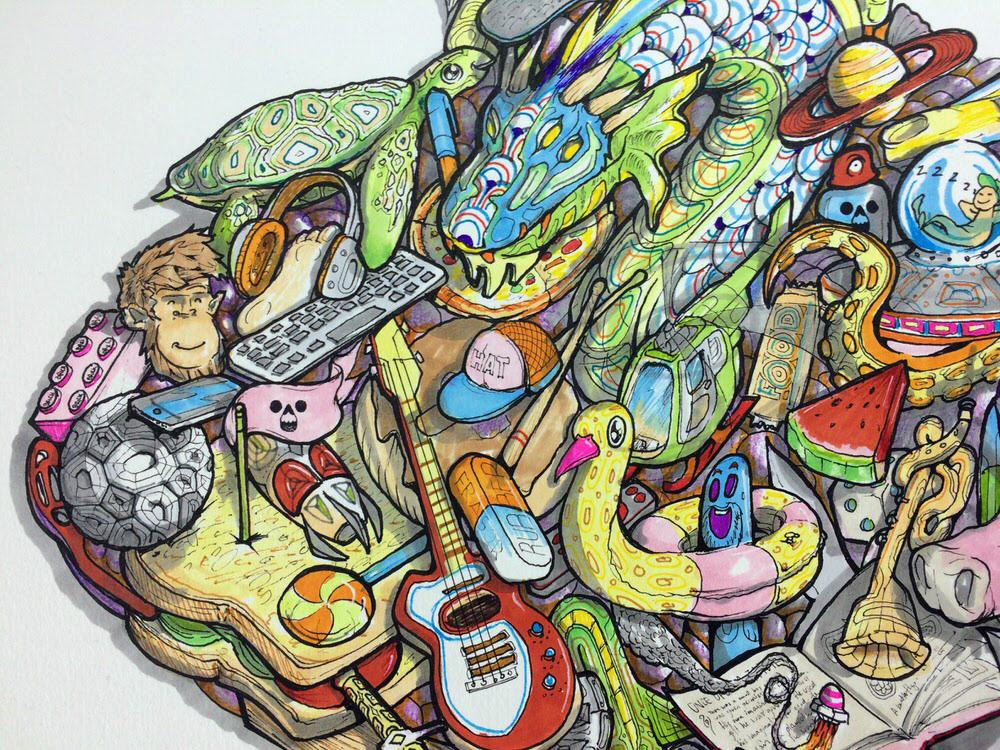 Close up of detailed colourful psychedelic kids artwork illustration