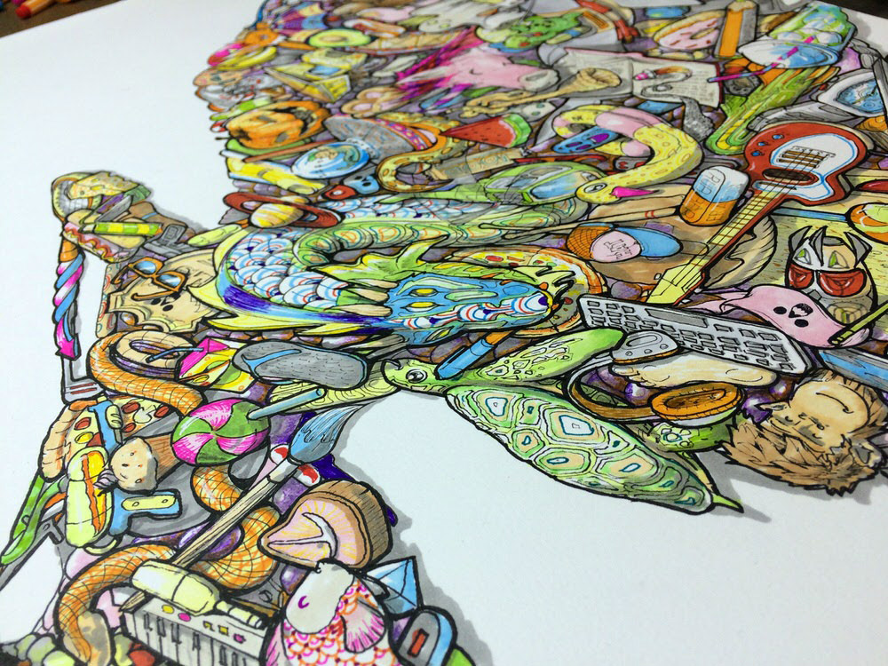 Angled photo over detailed illustration of bright cheerful kids imagination