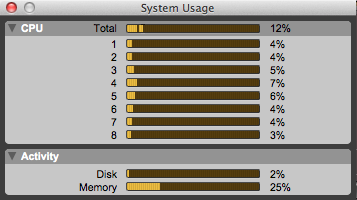 System usage to monitor CPU resources on Pro Tools