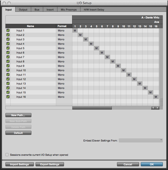 Pro Tools I/O patch setting