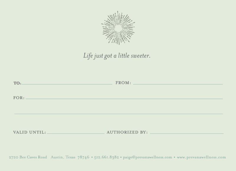 View of a physical gift certificate.