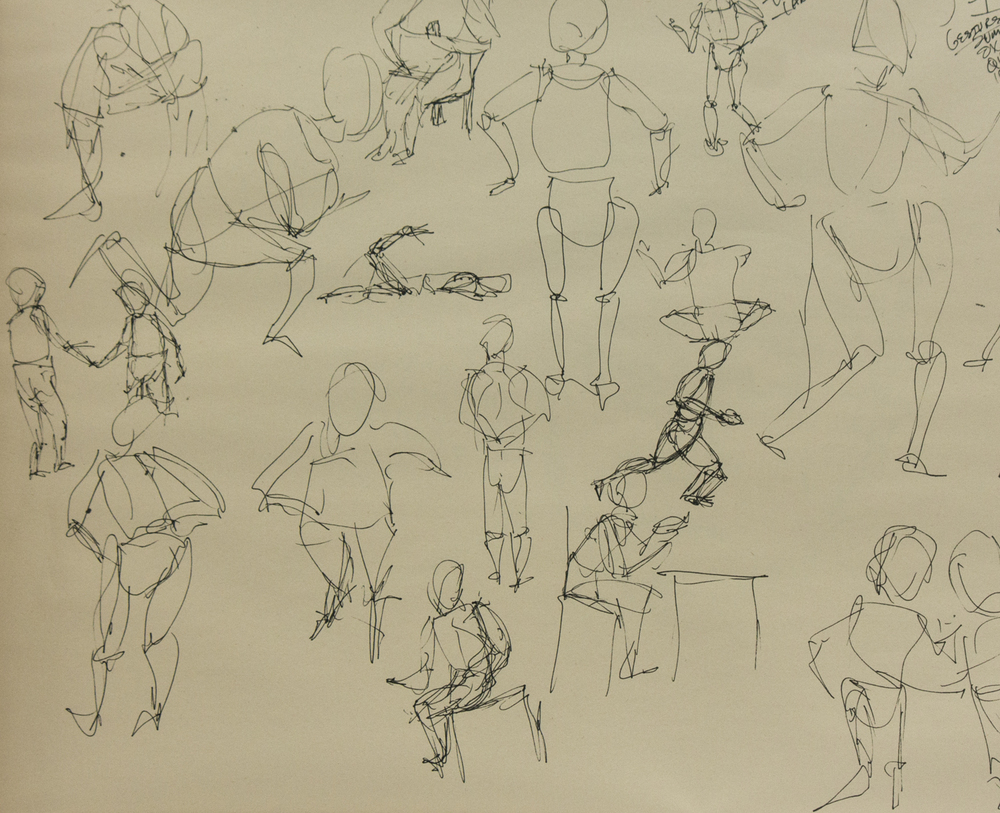 My first attempts at left-handed gesture sketches - lots of fun, but no da Vinci here.
