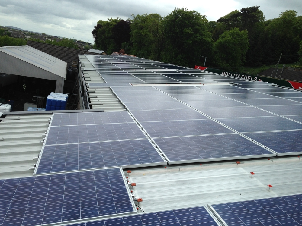 50KW Roof mounted system - Molloy Fuels, Co. Tyrone