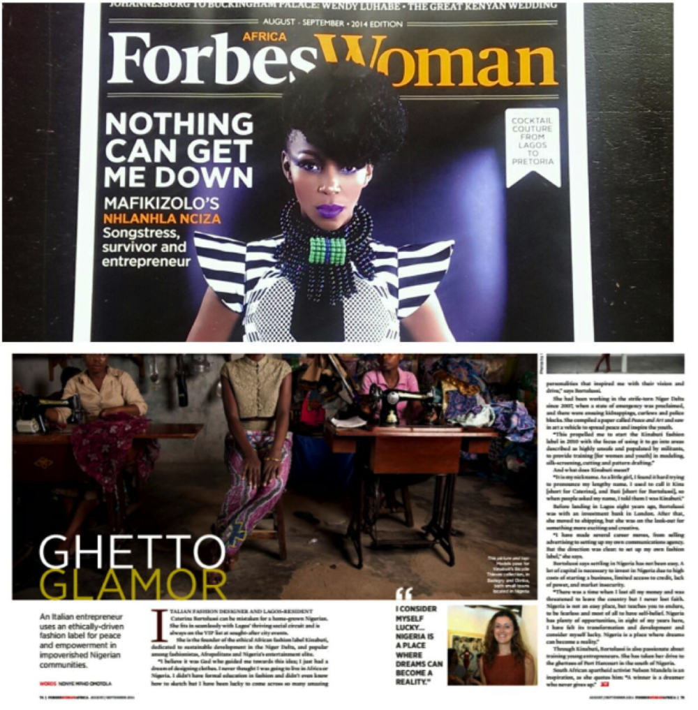 An article published on a double page in FORBES WOMAN Africa issue from August 2014.