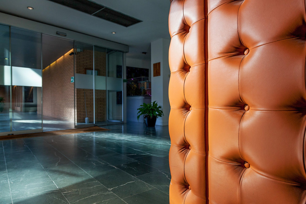 Leather wall and glass entrance hall