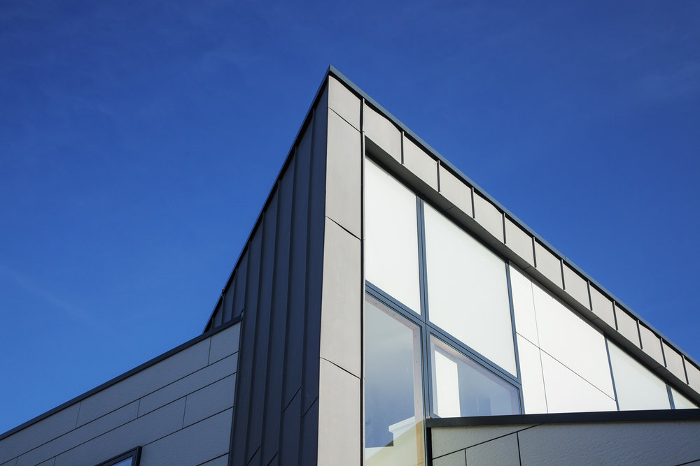 Modern exterior angular against a blue sky