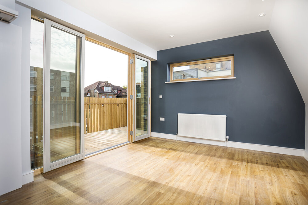 Interior living room space shot for Caldera Construction Ltd for a community housing project in Stamford Hill