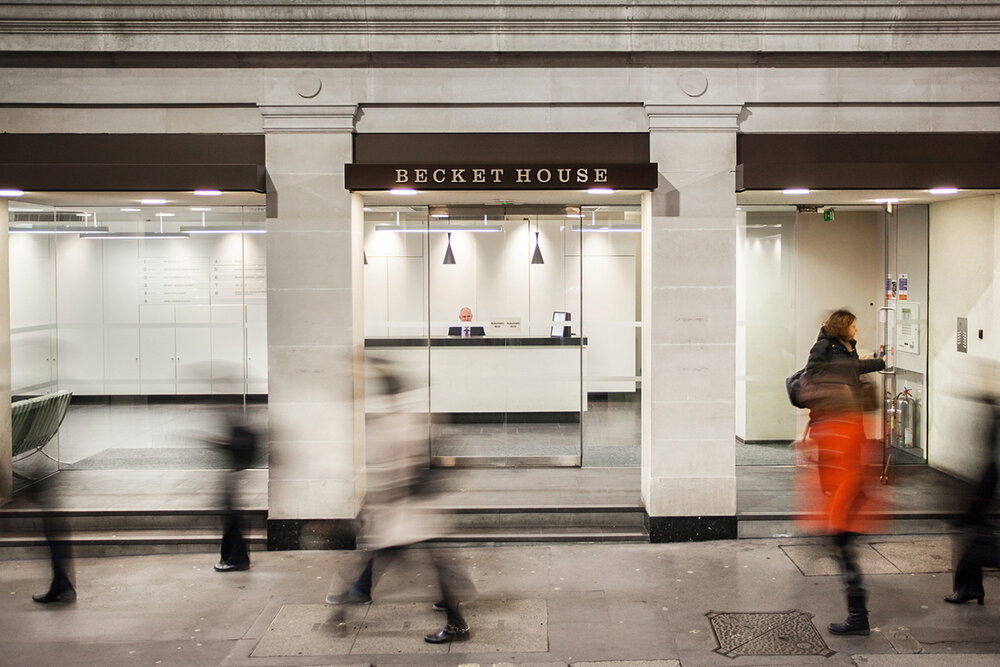 Becket House  exterior. Shot on a slow shutter speed to emphasize the sense of movement and action.