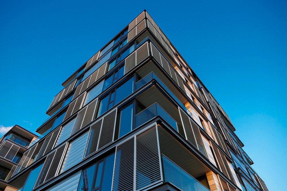 Modern apartment block, glass balconies