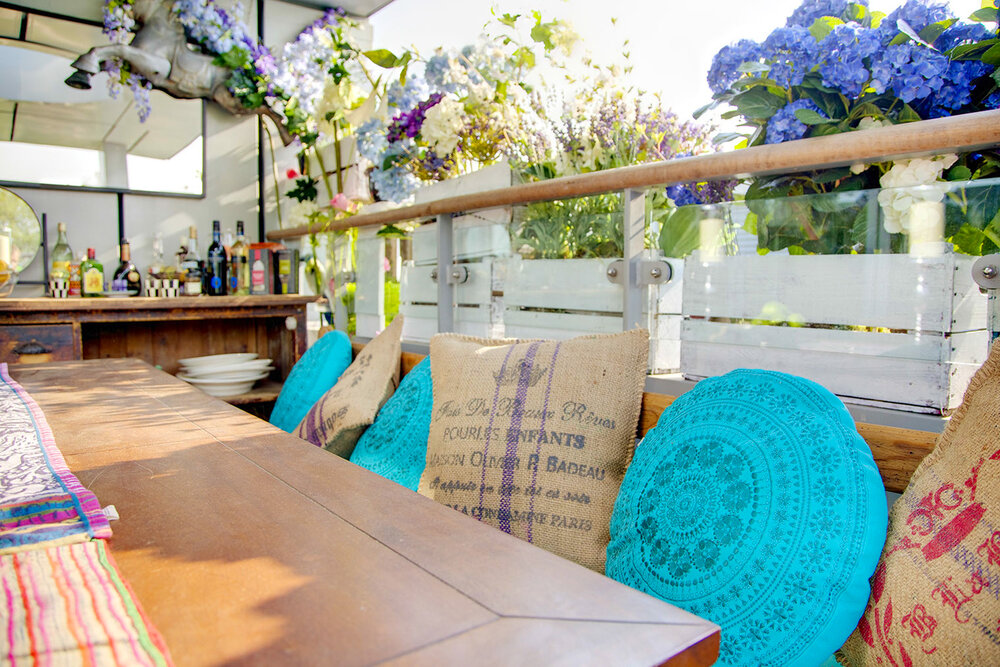 Balcony in the sun with dining table