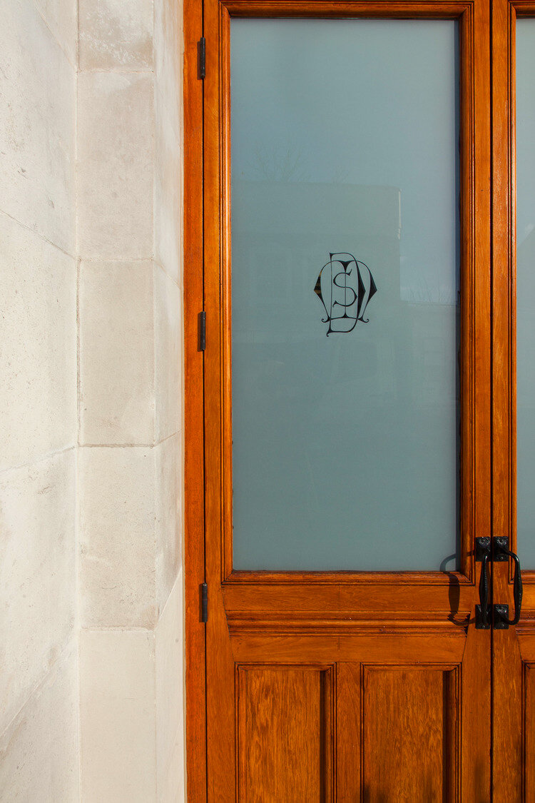 Entrance detail at Datchelor School residential conversion for  James Andrew Residential