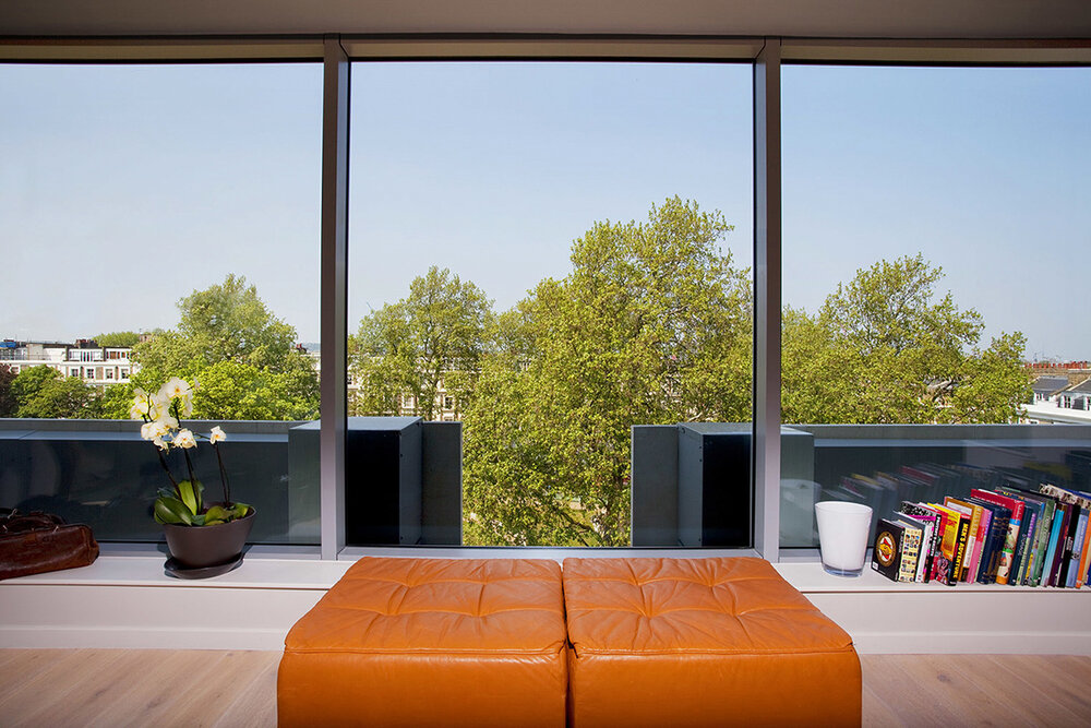 Apartment Interior, looking through window onto trees