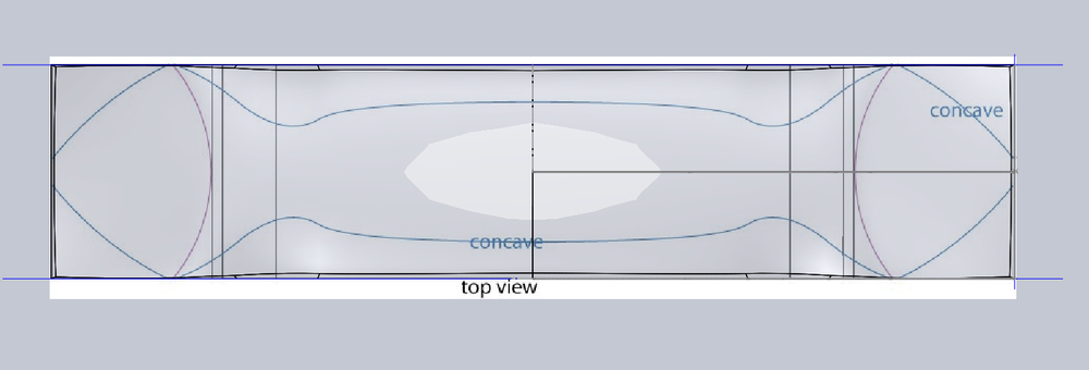 Screen shots showing preliminary top and sideviews being modeled as compound curved surfaces for the 3d model.