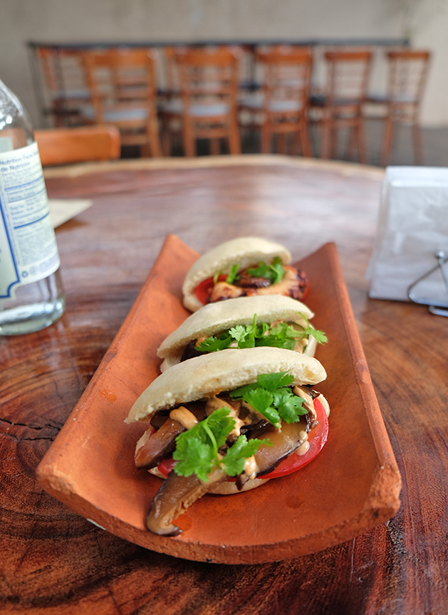 Mantou's signature steamed bun tacos