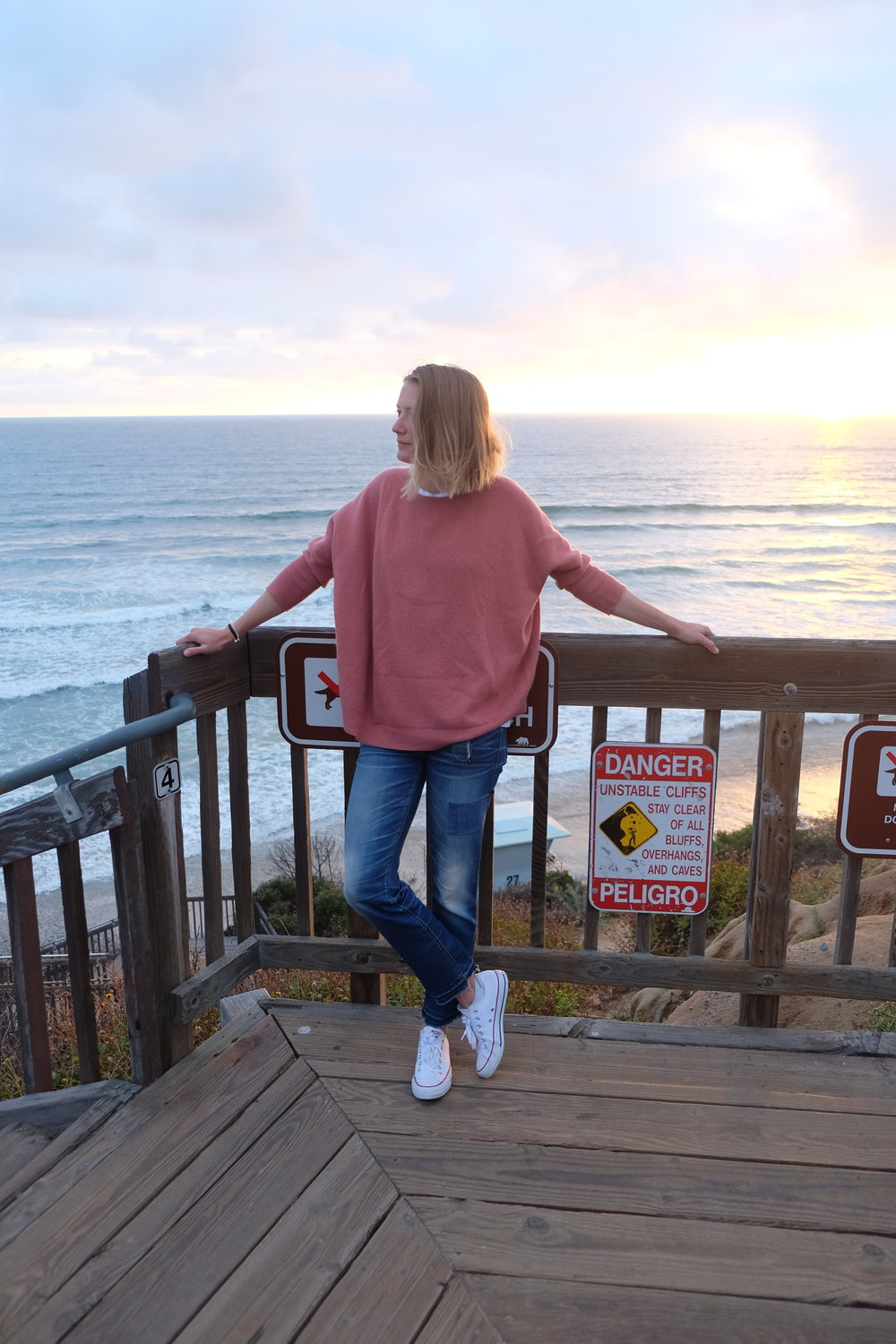 waiting for the sun set at South Carlsbad State Beach