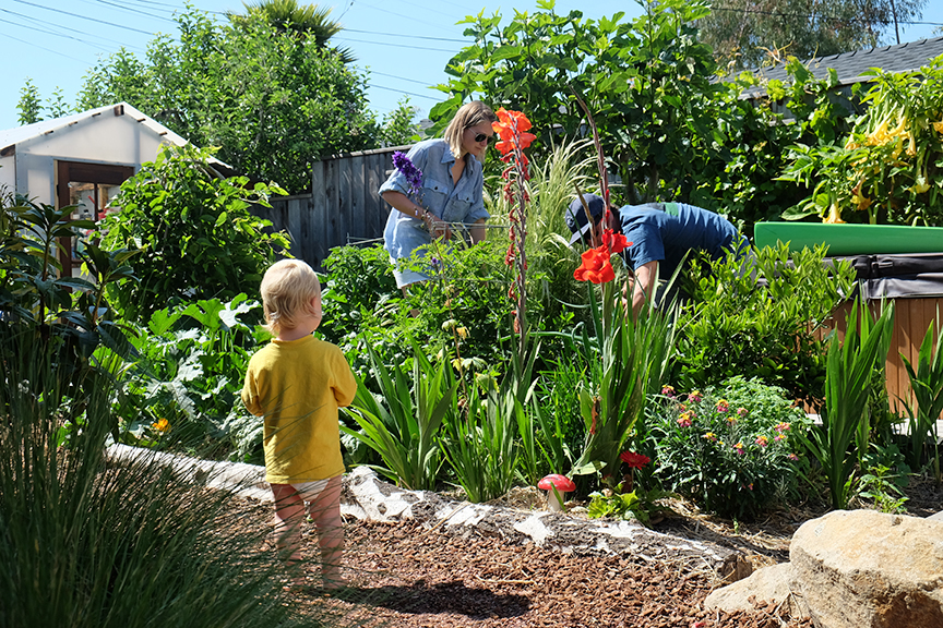 Getting the garden tour from Ryan and Owen in Santa Cruz