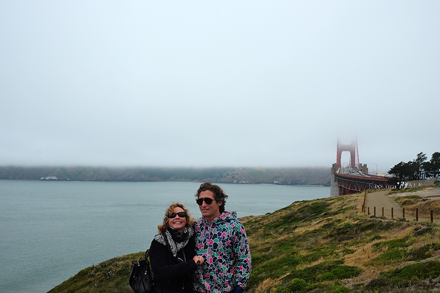 big smiles at the Golden Gate with Mom