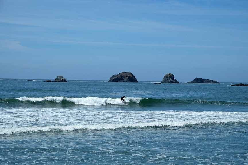 catching a wave just north of Crescent City