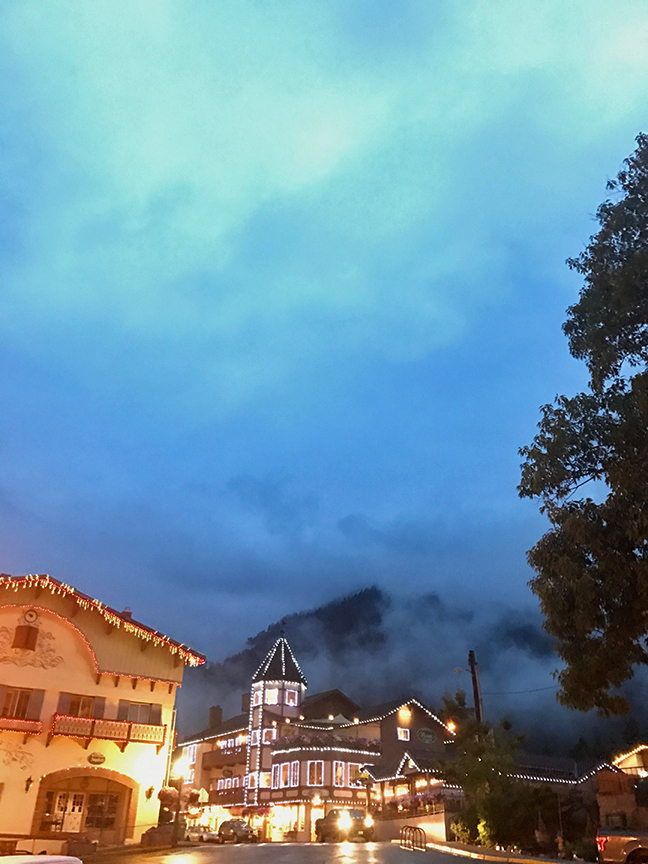 misty Leavenworth by night