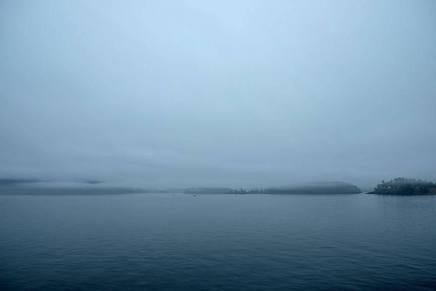 misty border crossing into Canada