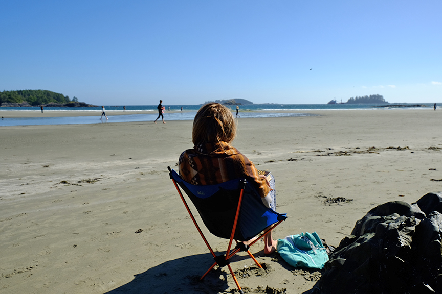 taking it all in at MacKenzie beach at Bella Pacifica campgrounds