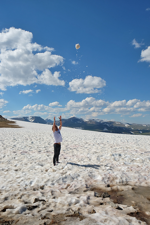 making snowballs at the summit