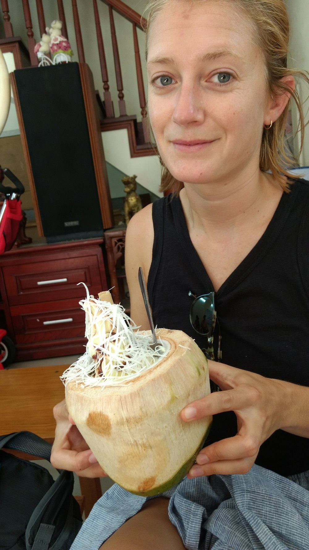 Coconut ice cream in a coconut at 29 Hang Than