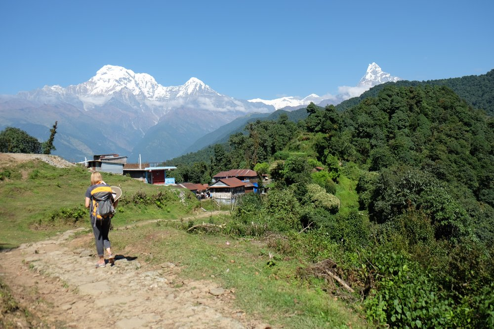 Looking ahead to Annapurna on the left and Macchapucchare on the right.