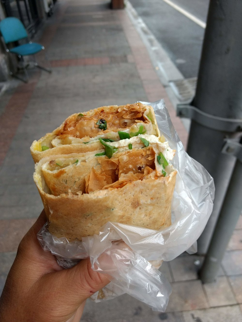 """Jian bing"" Shanghai street food breakfast."