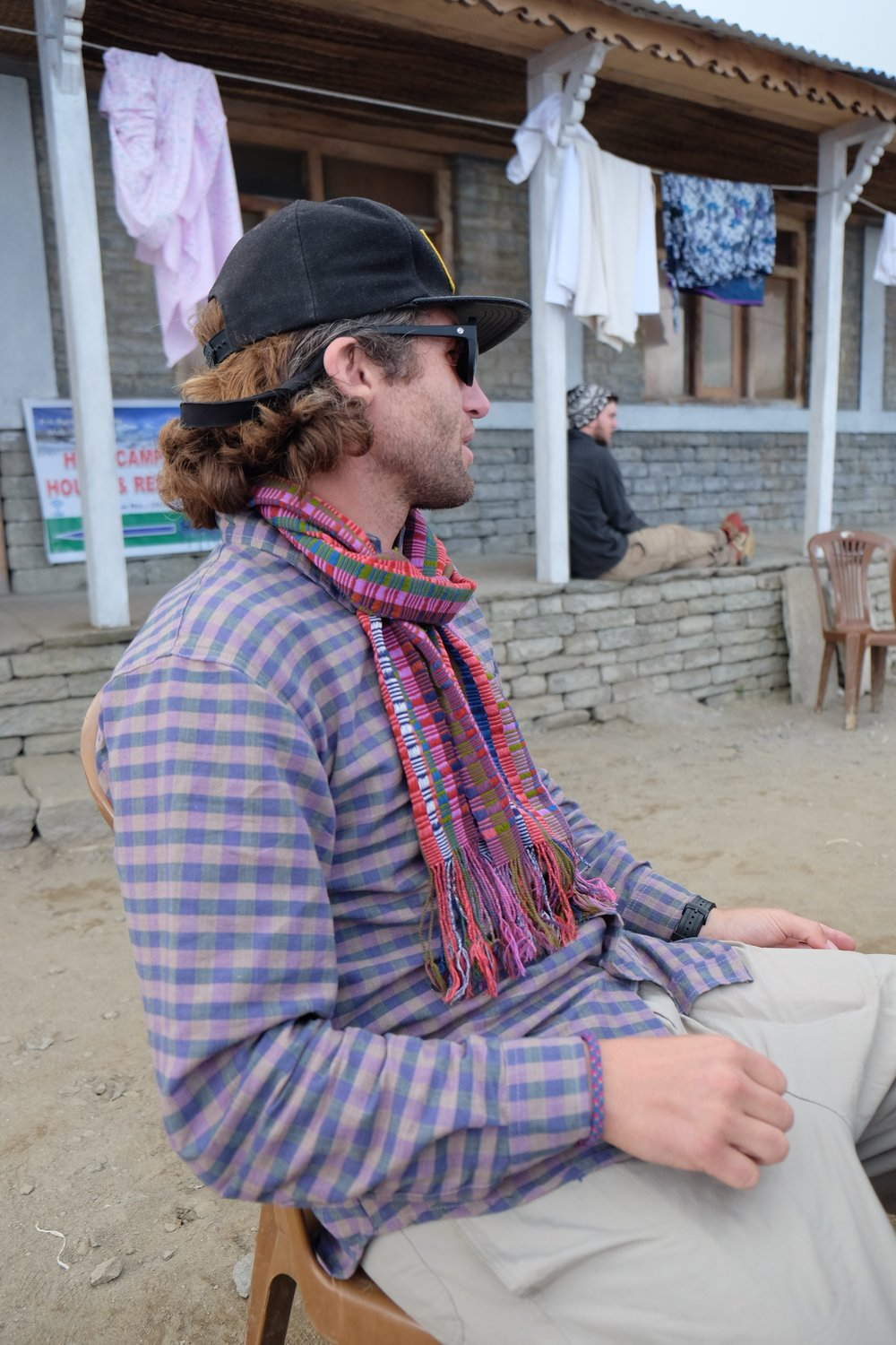 Trail fashion at High Camp (11,745ft): Shirt from Nepal and scarf from Bhutan