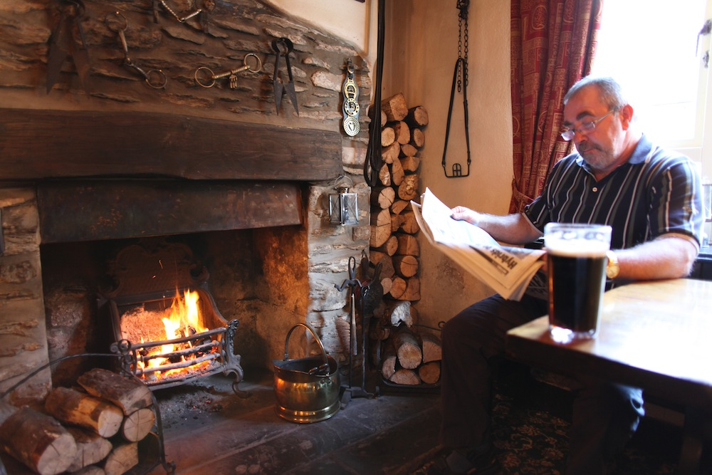A quiet pint by the fire