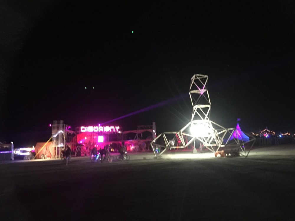 Disorient Camp  Esplanade, Burning Man 2016  Art Direction : Rebecca Nuvoletta  LED Art : Leo Villareal  Sculpture : The Eye