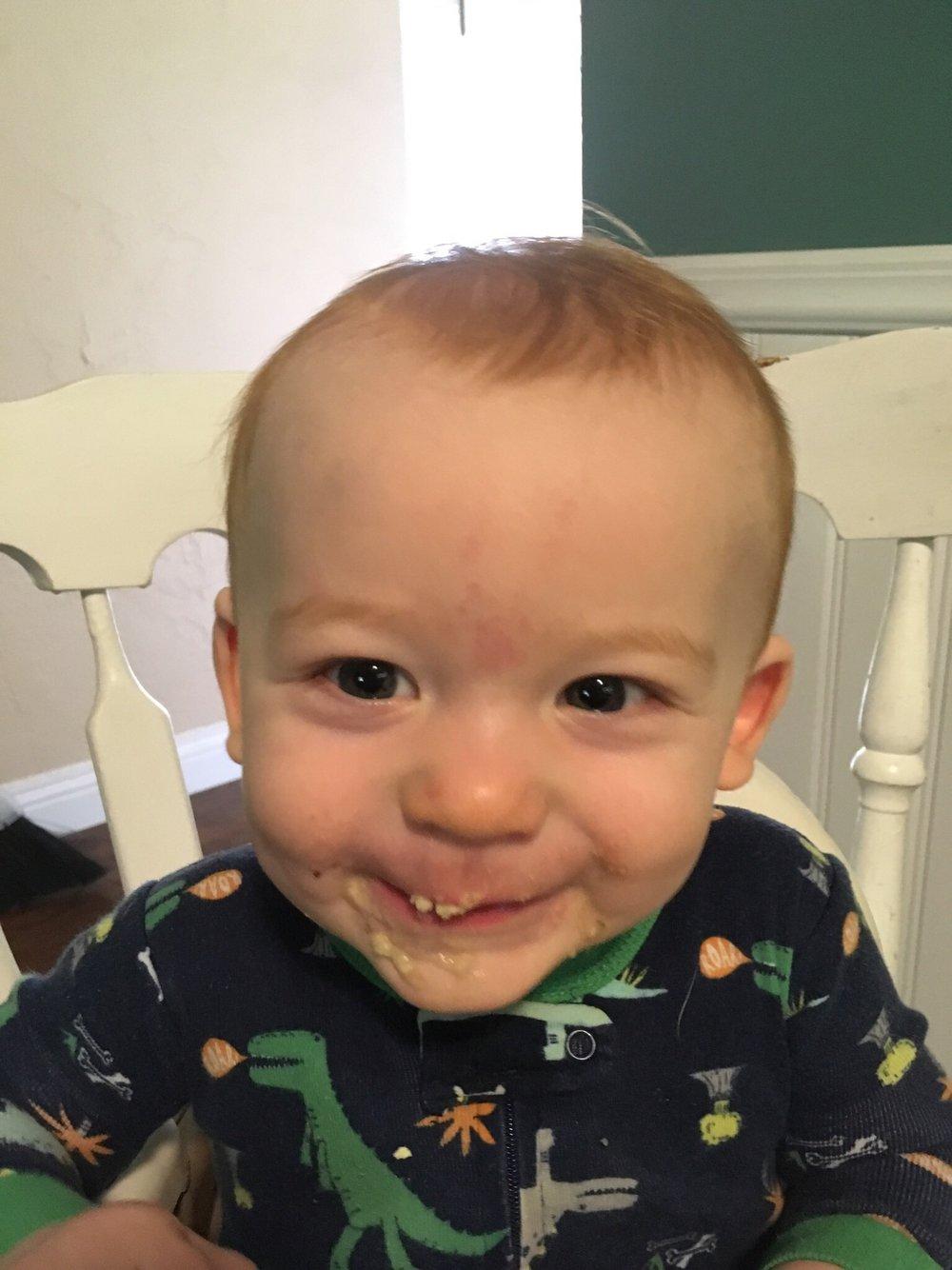 Joshua after eating bananas