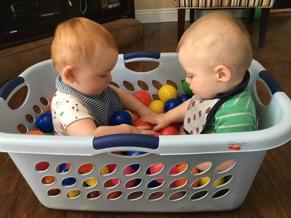 Joshua and Julian in our homemade ball pit