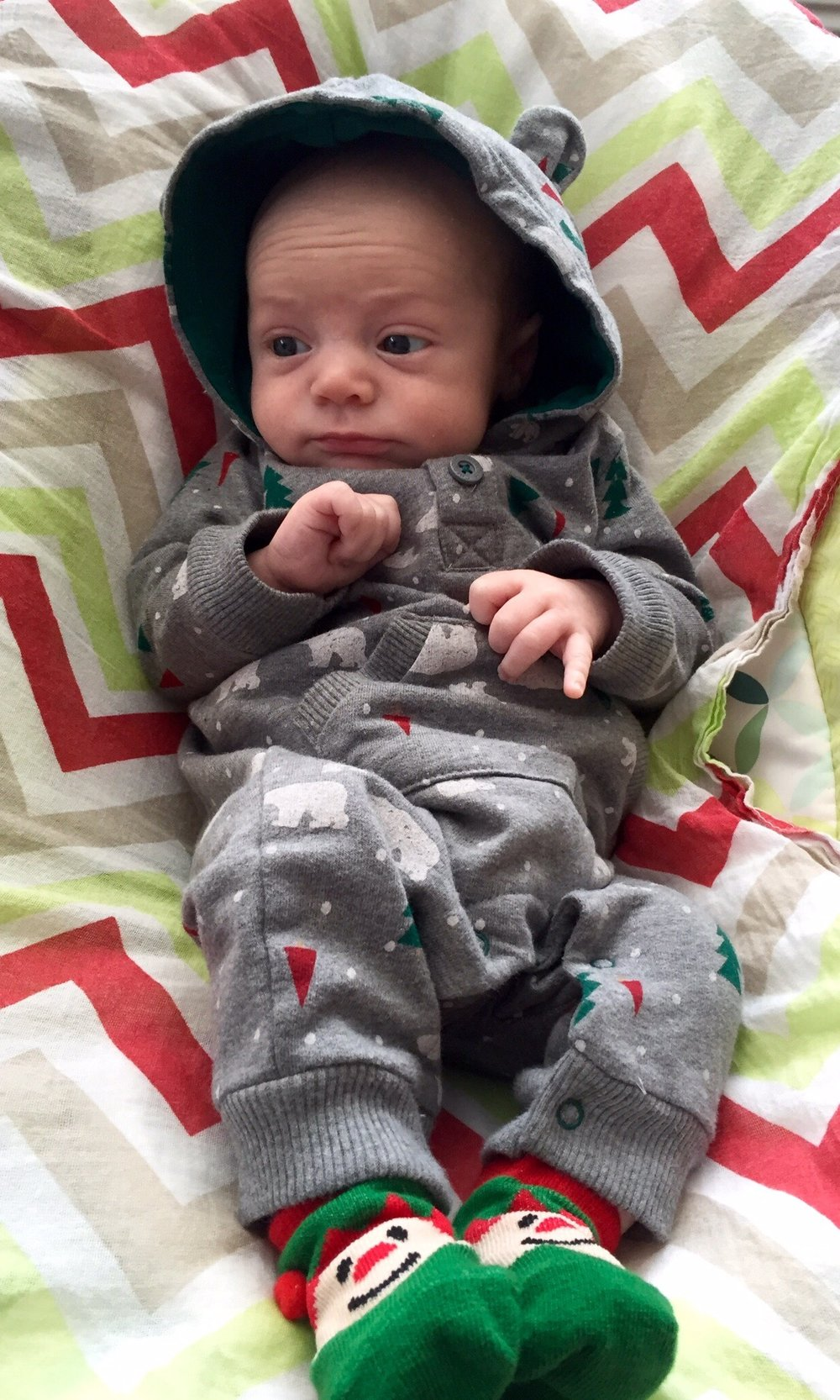 Julian, 1 month old, ready for Christmas